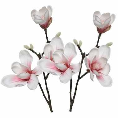 2x wit/roze magnolia beverboom kunstbloemen takken 50 cm decoratie