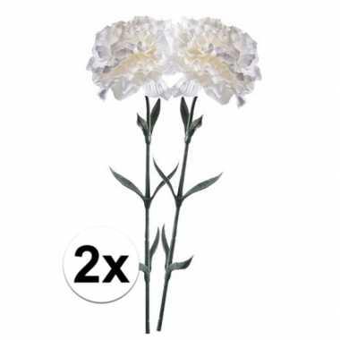 2x witte dianthus kunstbloem 65 cm