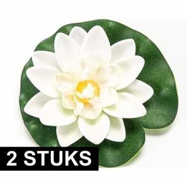 2x witte kunst waterlelie kunstbloemen 10 cm decoratie