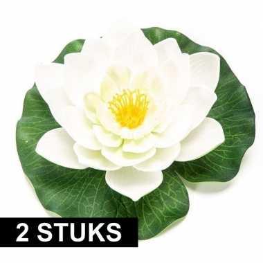 2x witte kunst waterlelie kunstbloemen 16 cm decoratie