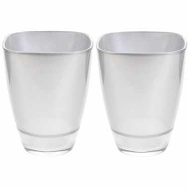 2x zilveren glazen vierkante bloemenvaas/bloempot 17 cm