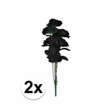 2x zwarte rozen boeket 12 stuks