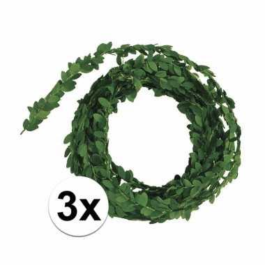 3 stuks buxus decoratie slingers 5 meter