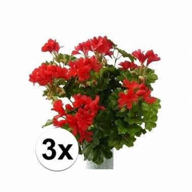 3 stuks kunst geranium rood 40 cm