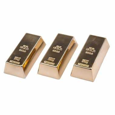 3 stuks magneetjes goudstaaf 6 cm