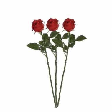 3 stuks mica rode kunstroos kunstbloemen 45 cm decoratie