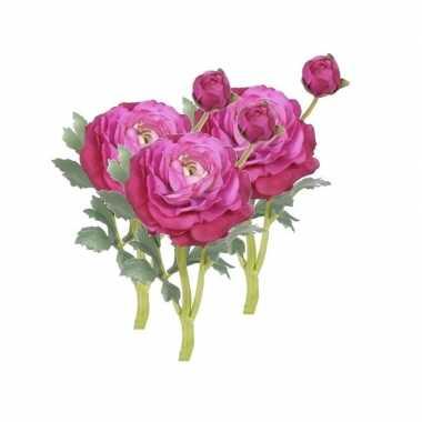 3 stuks nep bloemen ranonkel fuchsia roze 35 cm