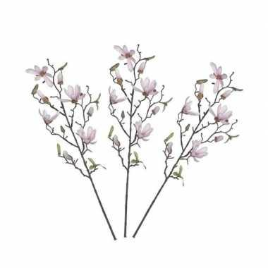 3 stuks nep planten magnolia beverboom kunstbloemen takken 175 cm dec