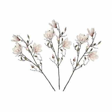 3 stuks nep planten magnolia beverboom kunstbloemen takken 188 cm dec