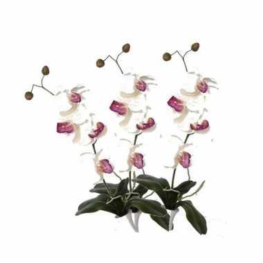 3 stuks orchidee kunstbloemen tak wit/roze 44 cm