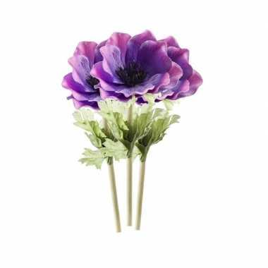 3 stuks paarse anemoon kunstbloemen 47 cm
