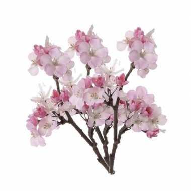 3 stuks roze nep appelbloesem kunstbloemen takken 36 cm