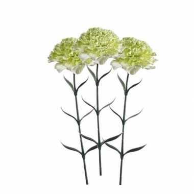 3 stuks wit/groene dianthus kunstbloemen 65 cm