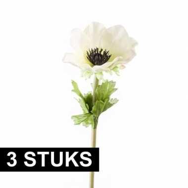 3 stuks witte anemoon kunstbloemen 47 cm