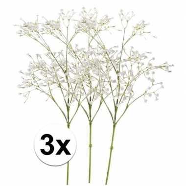 3 x kunstbloemen steelbloem wit gipskruid 65 cm