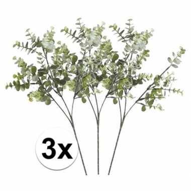 3 x kunstbloemen tak groen/grijs eucalyptus 65 cm