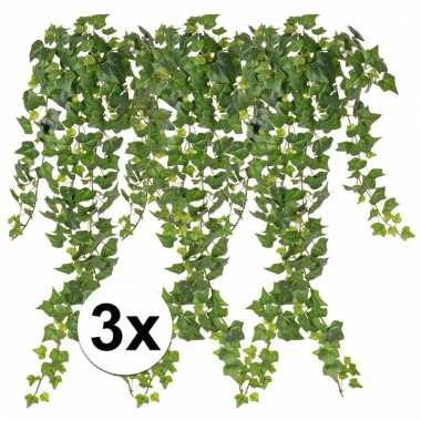 3 x kunstplanten groene klimop 65 cm