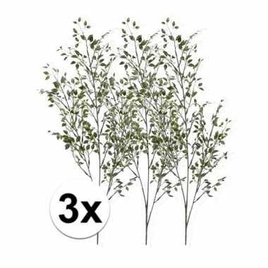 3 x kunsttakken groene buxus tak 75 cm