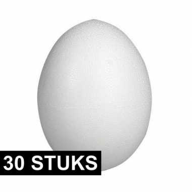 30x stuks eieren van piepschuim 8 cm