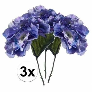 3x blauwe hortensia kunstbloem 28 cm
