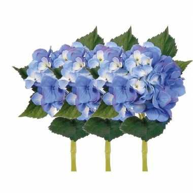 3x blauwe hortensia kunstbloemen met steel 48 cm