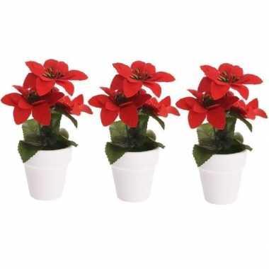 3x budget kunstplanten rode poinsettia bloem met pot 16 cm