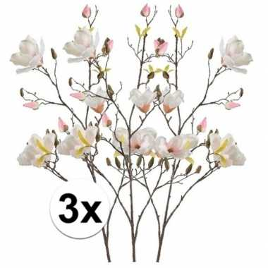 3x creme magnolia kunstbloem 105 cm