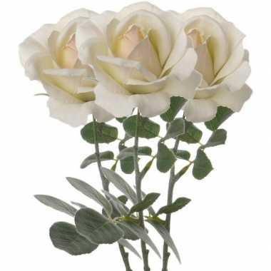 3x creme witte kunstroos kunstbloemen 37 cm decoratie