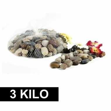 3x deco steentjes in net 1 kg