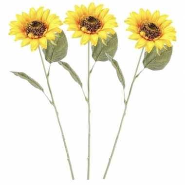 3x gele kunst zonnebloem kunstbloemen 62 cm decoratie