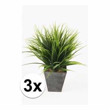 3x grass bush kunstplanten 30 cm