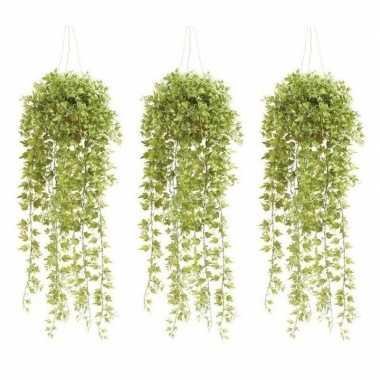 3x groene hedera/klimop kunstplanten 50 cm met pot