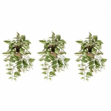 3x groene tradescantia/vaderplant kunstplanten 70 cm met pot
