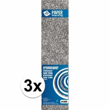 3x hobby crepe alu papier zilveren glitters 150 x 50 cm