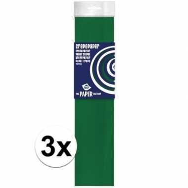 3x hobby crepe papier groen 250 x 50 cm