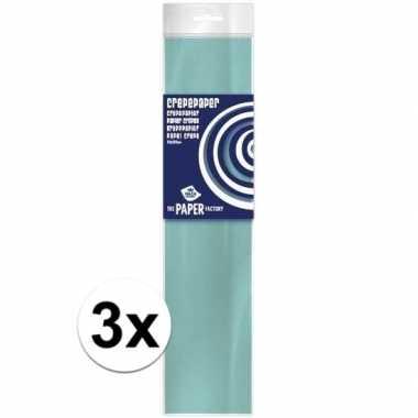 3x hobby crepe papier lichtblauw 250 x 50 cm