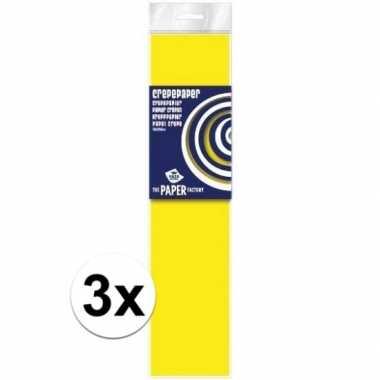 3x hobby crepe papier neon geel 250 x 50 cm