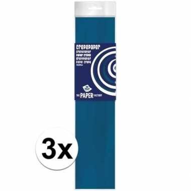 3x hobby crepe papier petrol blauw 250 x 50 cm