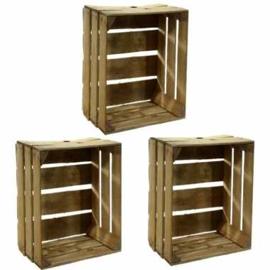 3x houten fruitkistje 30 x 50 x 40 cm