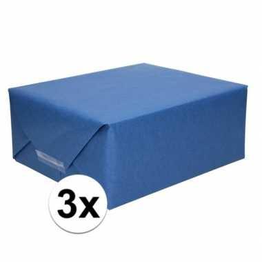 3x kaftpapier donkerblauw 70 x 200 cm kraftpapier