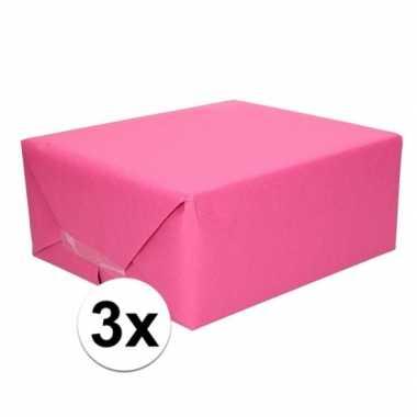 3x kaftpapier fuchsia roze 70 x 200 cm kraftpapier