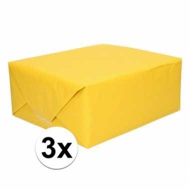 3x kaftpapier geel 70 x 200 cm kraftpapier