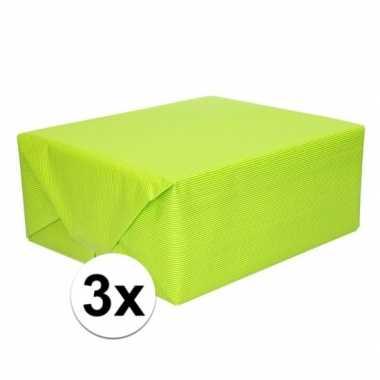 3x kaftpapier lime groen 70 x 200 cm kraftpapier