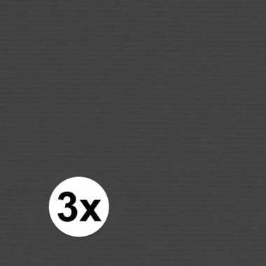 3x kaftpapier zwart 70 x 200 cm kraftpapier