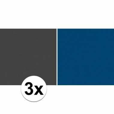 3x kaftpapier zwart/blauw 70 x 200 cm kraftpapier