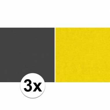 3x kaftpapier zwart/geel 70 x 200 cm kraftpapier
