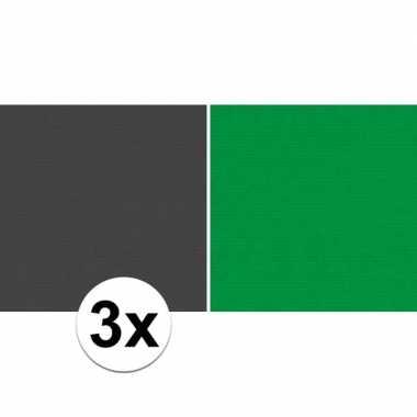 3x kaftpapier zwart/groen 70 x 200 cm kraftpapier