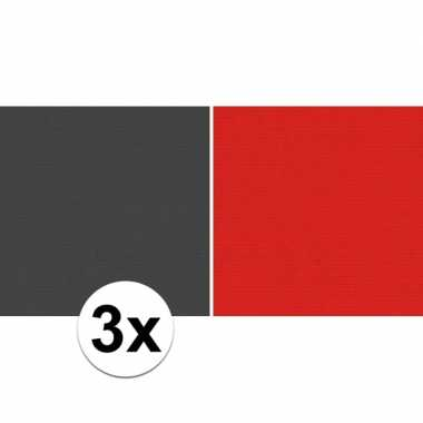 3x kaftpapier zwart/rood 70 x 200 cm kraftpapier