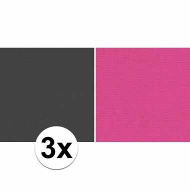3x kaftpapier zwart/roze 70 x 200 cm kraftpapier