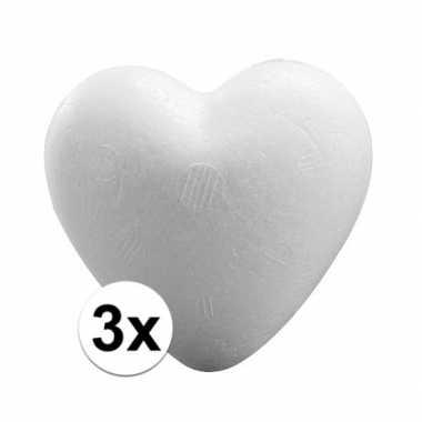 3x knutsel harten piepschuim 12 cm